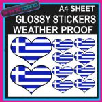 LOVE GREECE HEART FLAG GRAPHICS CAR BUMPER WEATHER PROOF STICKERS MIXED SIZES